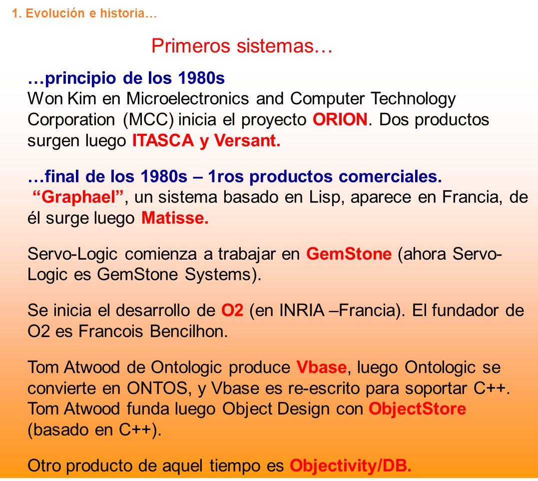 Primeros sistemas… …principio de los 1980s