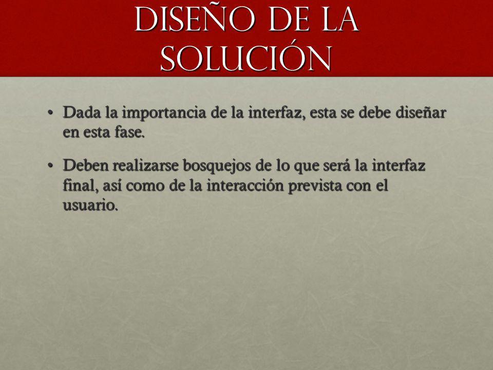 Diseño de la solución Dada la importancia de la interfaz, esta se debe diseñar en esta fase.
