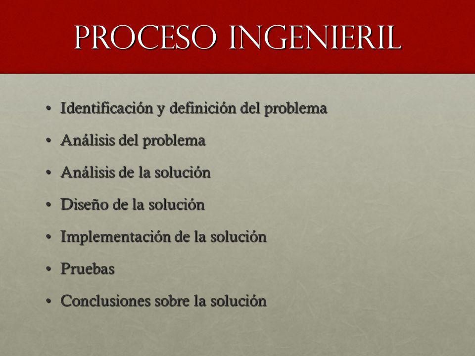 Proceso ingenieril Identificación y definición del problema