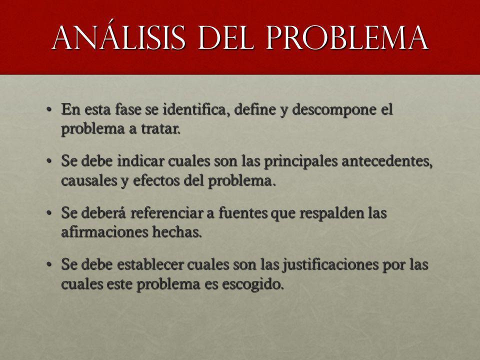 Análisis del problema En esta fase se identifica, define y descompone el problema a tratar.