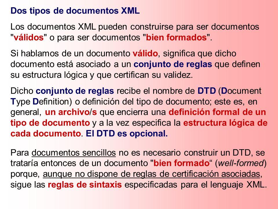 Dos tipos de documentos XML
