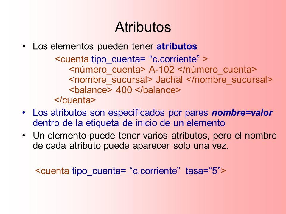 Atributos Los elementos pueden tener atributos