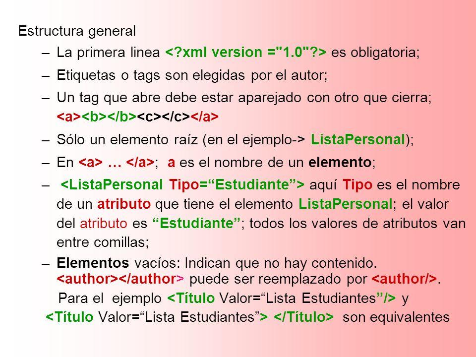 Estructura general La primera linea < xml version = 1.0 > es obligatoria; Etiquetas o tags son elegidas por el autor;