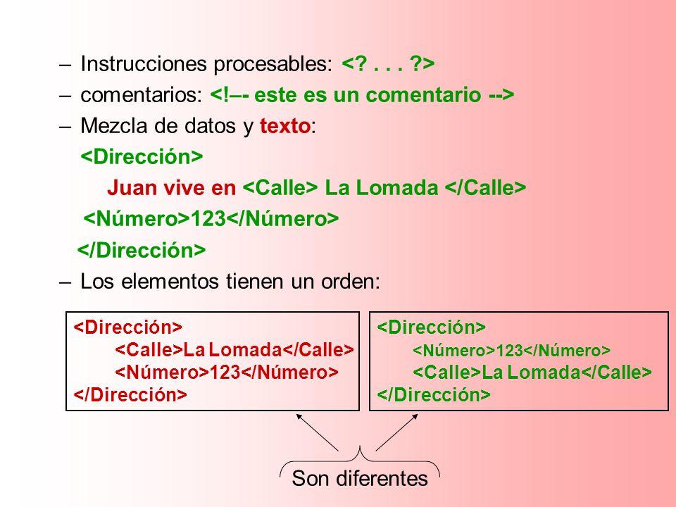 Instrucciones procesables: < . . . >