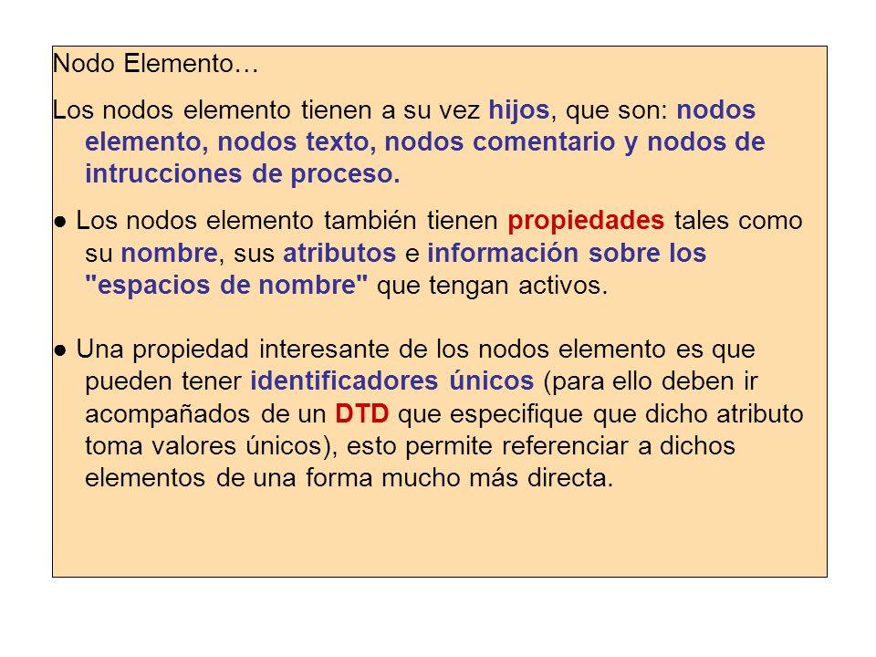 Nodo Elemento…Los nodos elemento tienen a su vez hijos, que son: nodos elemento, nodos texto, nodos comentario y nodos de intrucciones de proceso.
