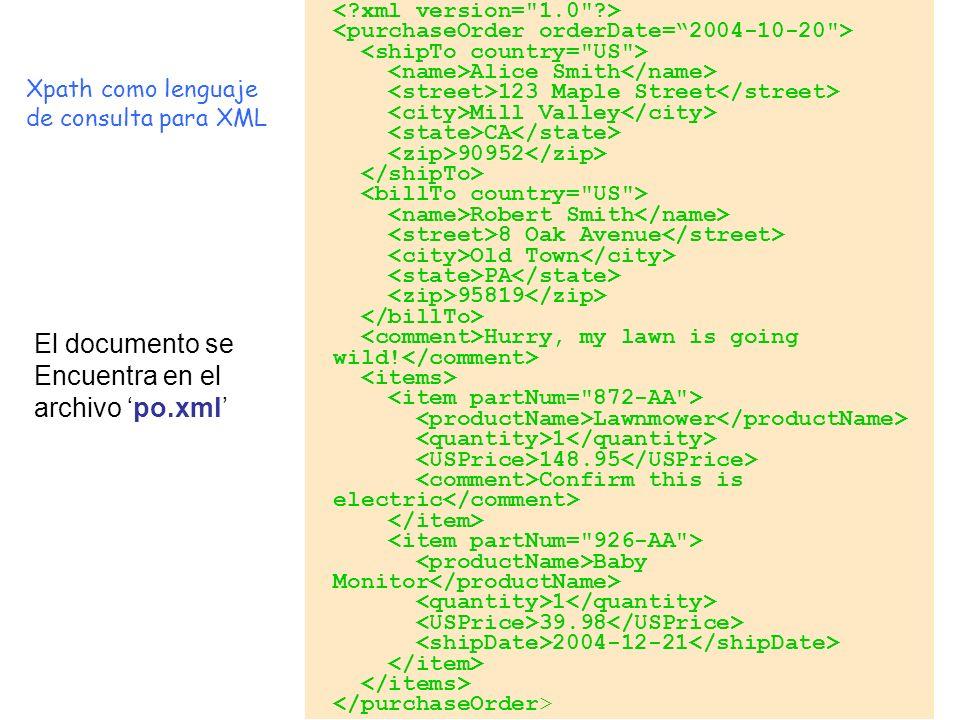 El documento se Encuentra en el archivo 'po.xml' Xpath como lenguaje
