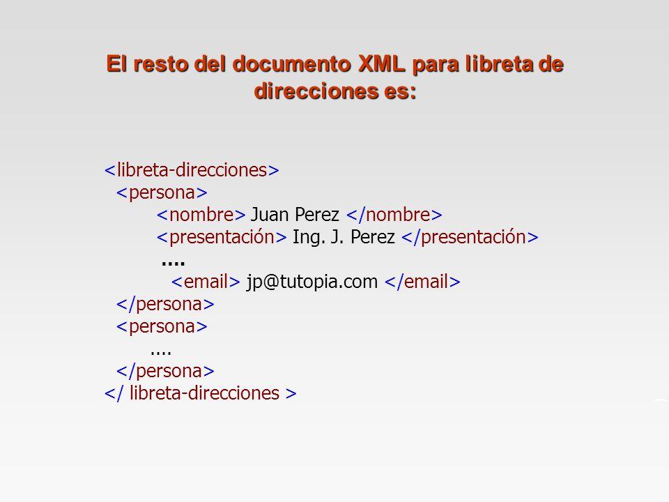 El resto del documento XML para libreta de direcciones es: