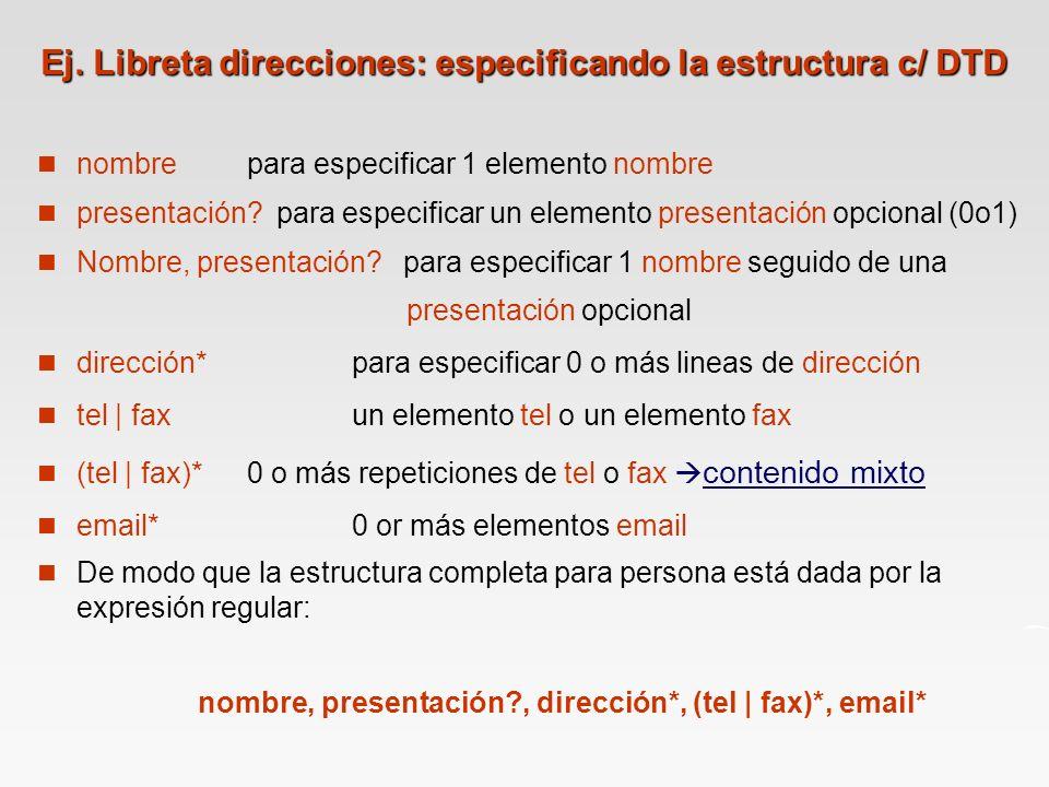 Ej. Libreta direcciones: especificando la estructura c/ DTD