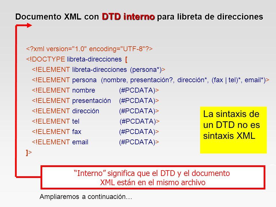 Documento XML con DTD interno para libreta de direcciones