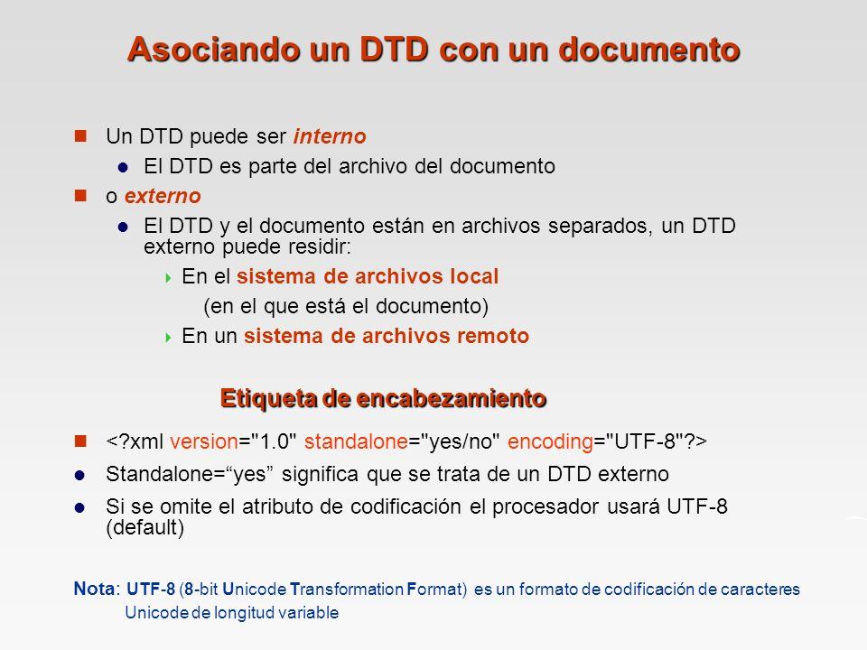 Asociando un DTD con un documento