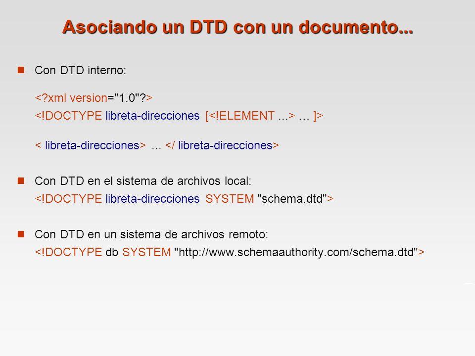 Asociando un DTD con un documento...