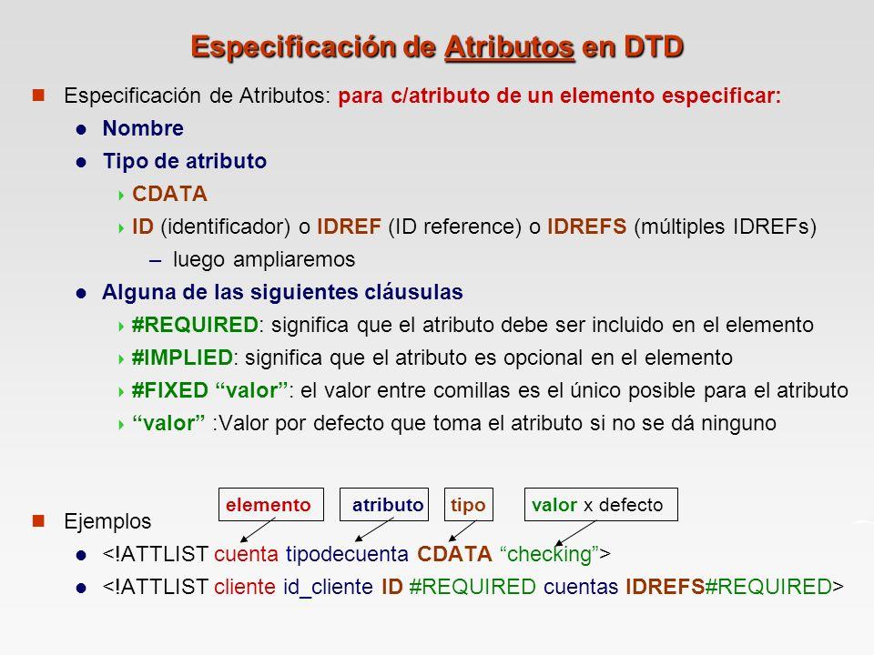 Especificación de Atributos en DTD
