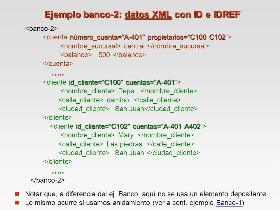 Ejemplo banco-2: datos XML con ID e IDREF