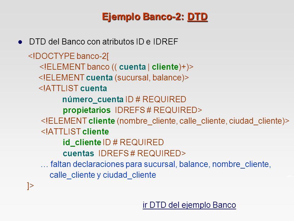 Ejemplo Banco-2: DTD DTD del Banco con atributos ID e IDREF