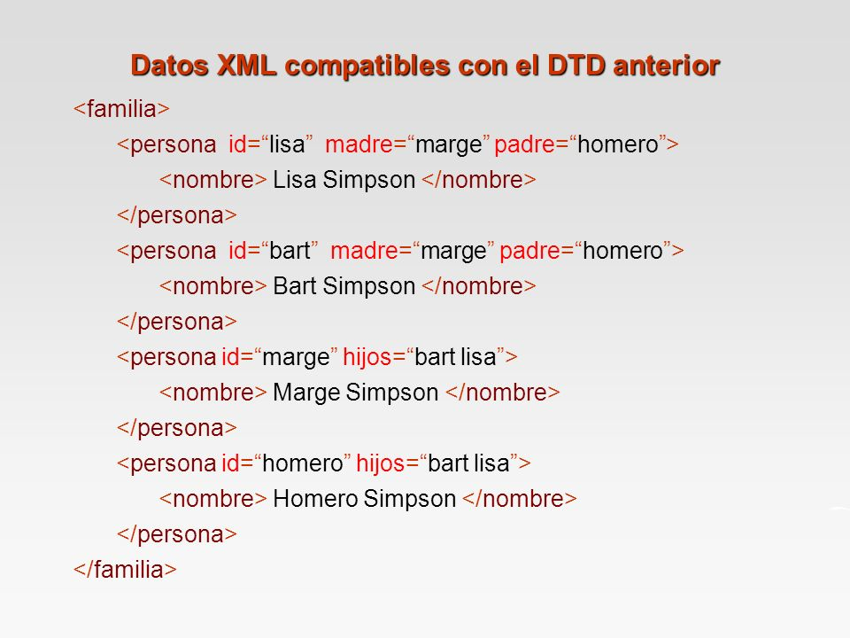 Datos XML compatibles con el DTD anterior