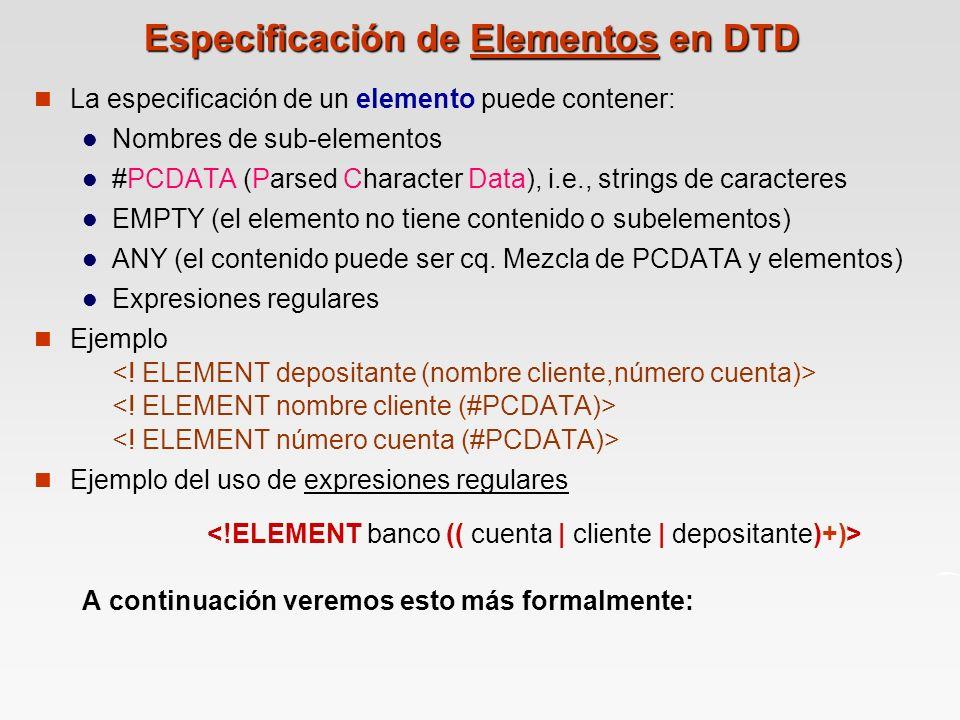 Especificación de Elementos en DTD
