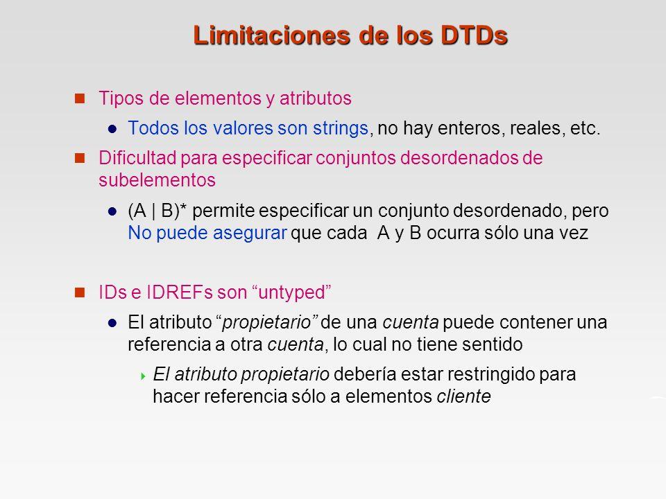 Limitaciones de los DTDs