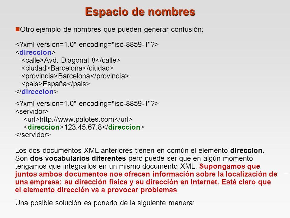 Espacio de nombres Otro ejemplo de nombres que pueden generar confusión: < xml version=1.0 encoding= iso-8859-1 >