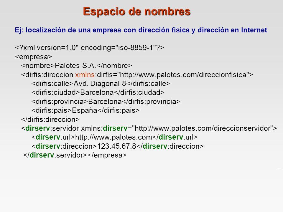 Espacio de nombres < xml version=1.0 encoding= iso-8859-1 >