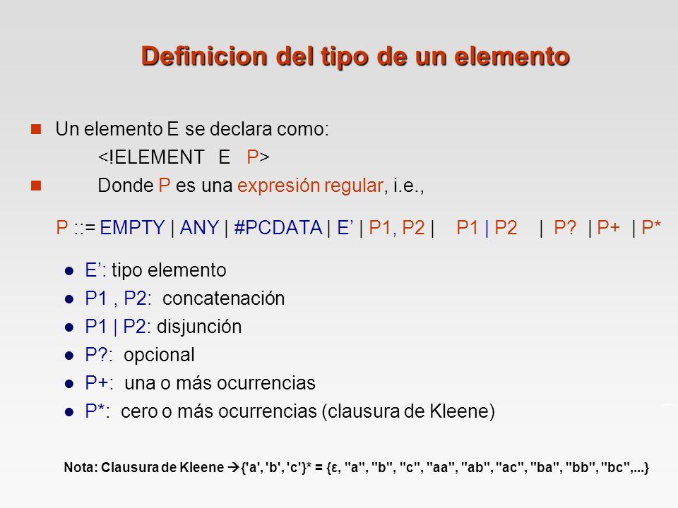 Definicion del tipo de un elemento