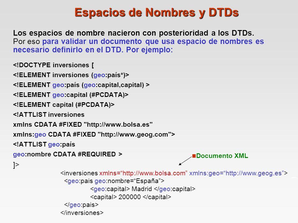 Espacios de Nombres y DTDs