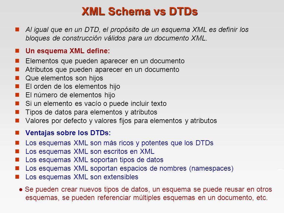 XML Schema vs DTDs Al igual que en un DTD, el propósito de un esquema XML es definir los bloques de construcción válidos para un documento XML.