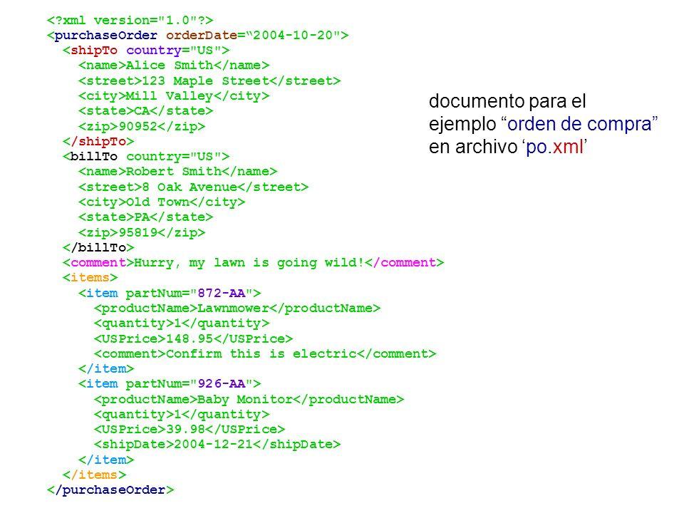 ejemplo orden de compra en archivo 'po.xml'
