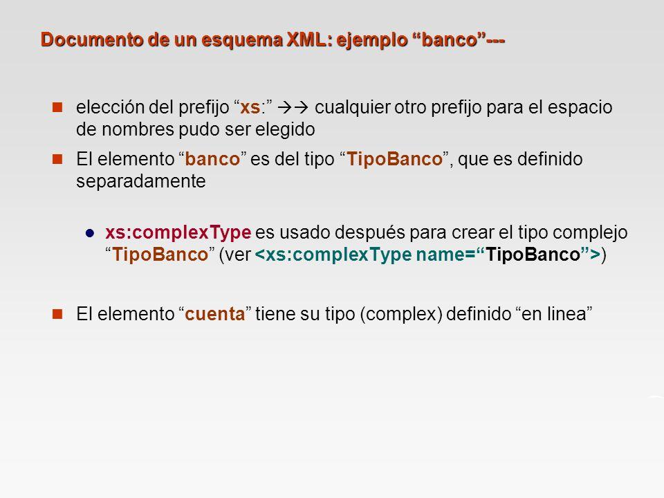 Documento de un esquema XML: ejemplo banco ---