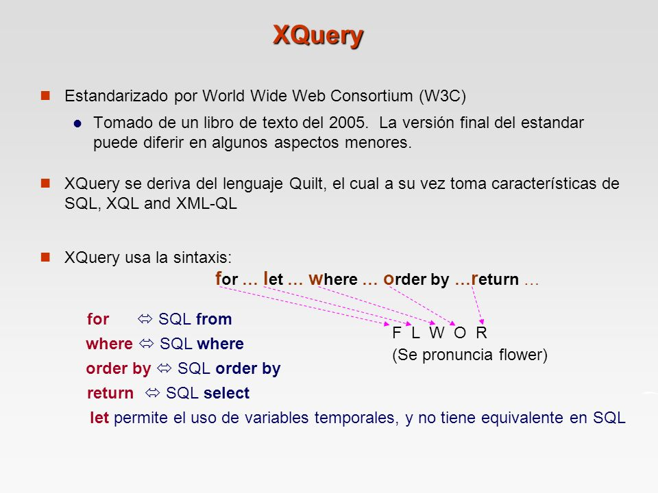 XQuery Estandarizado por World Wide Web Consortium (W3C)