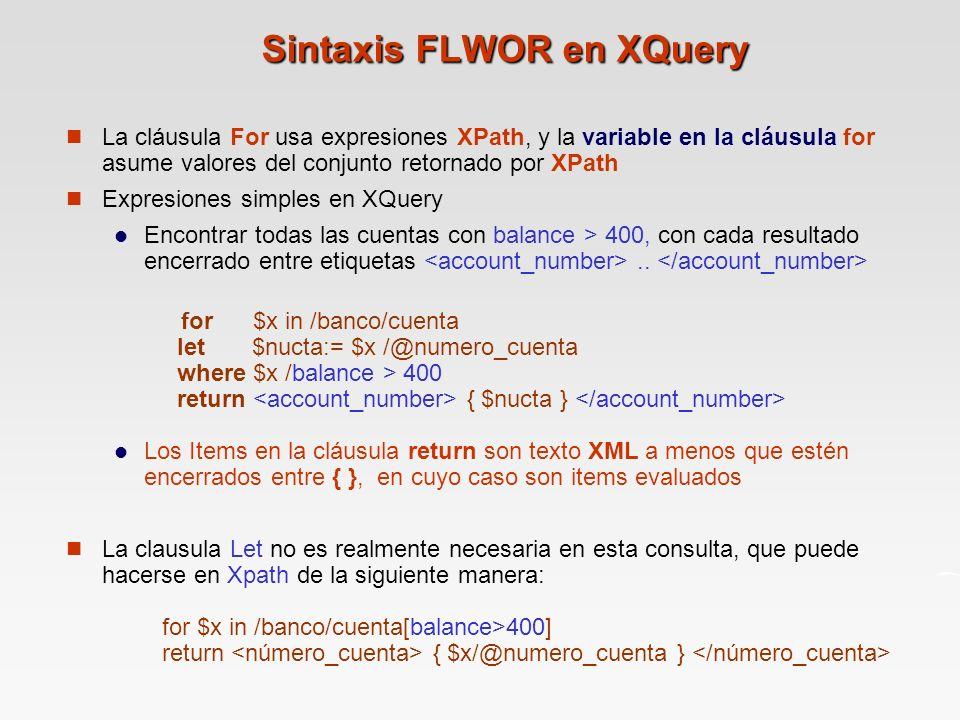 Sintaxis FLWOR en XQuery