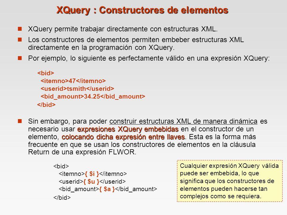 XQuery : Constructores de elementos