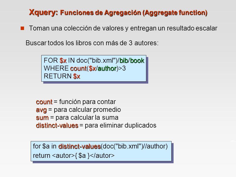 Xquery: Funciones de Agregación (Aggregate function)