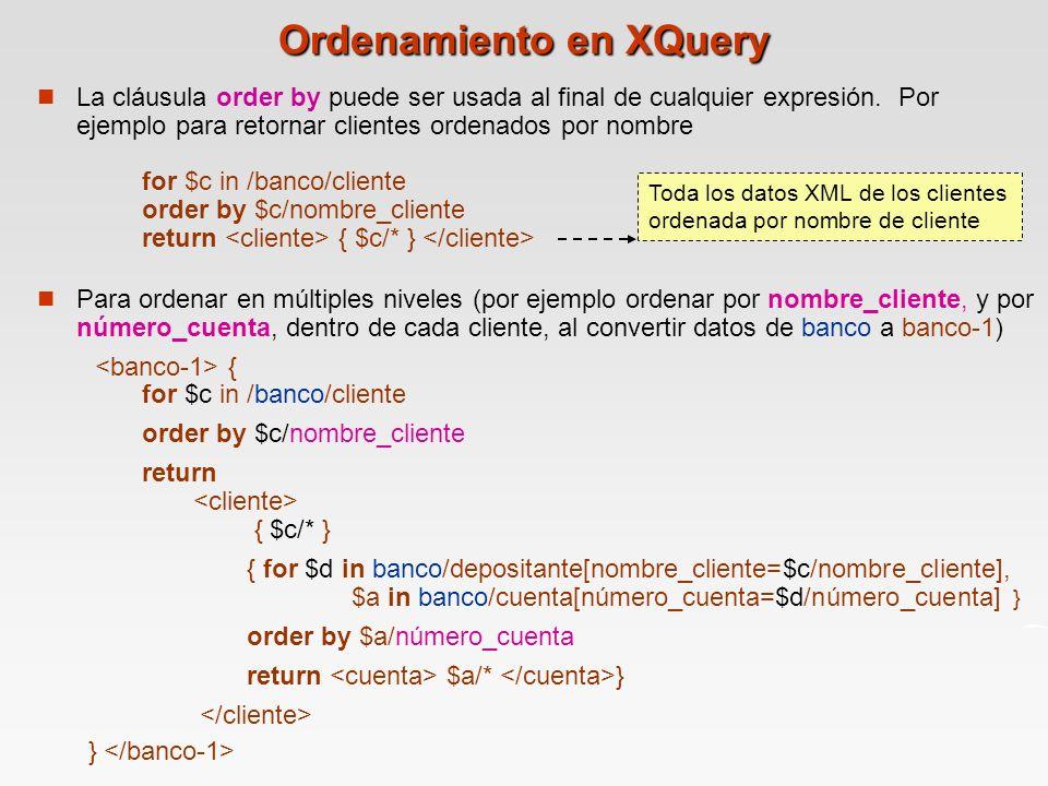 Ordenamiento en XQuery