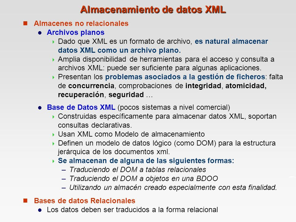 Almacenamiento de datos XML
