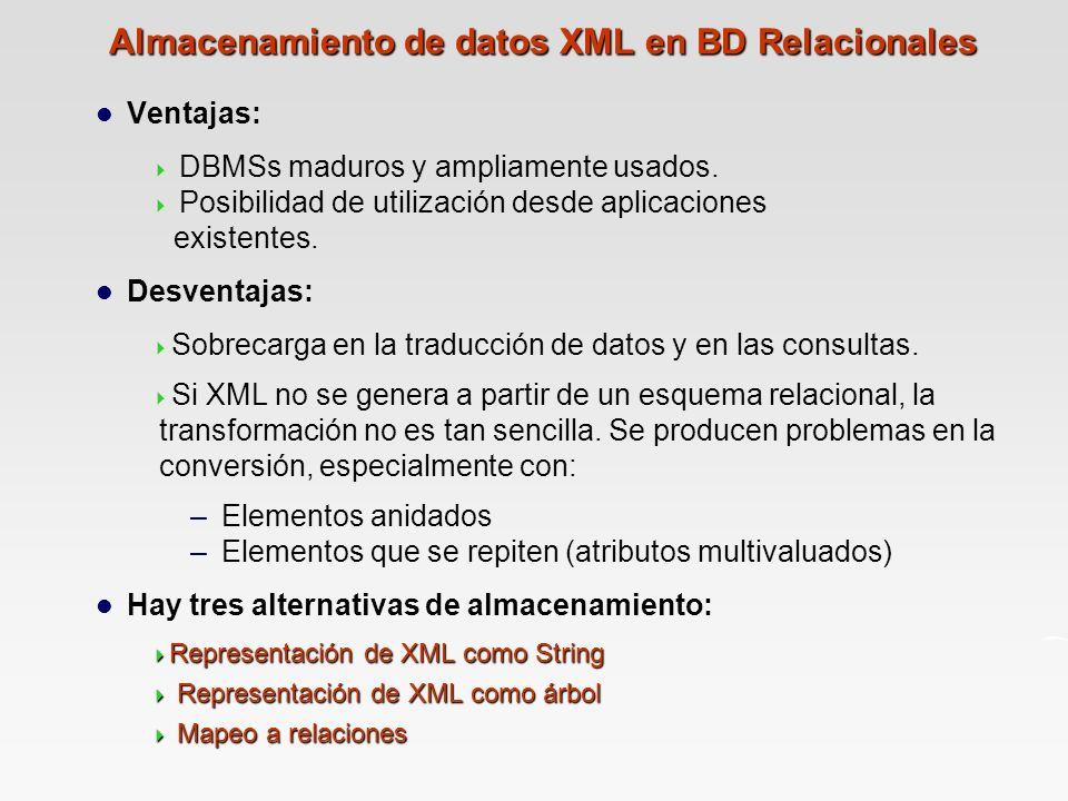 Almacenamiento de datos XML en BD Relacionales