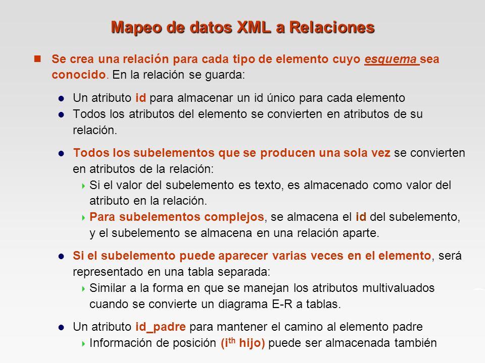 Mapeo de datos XML a Relaciones
