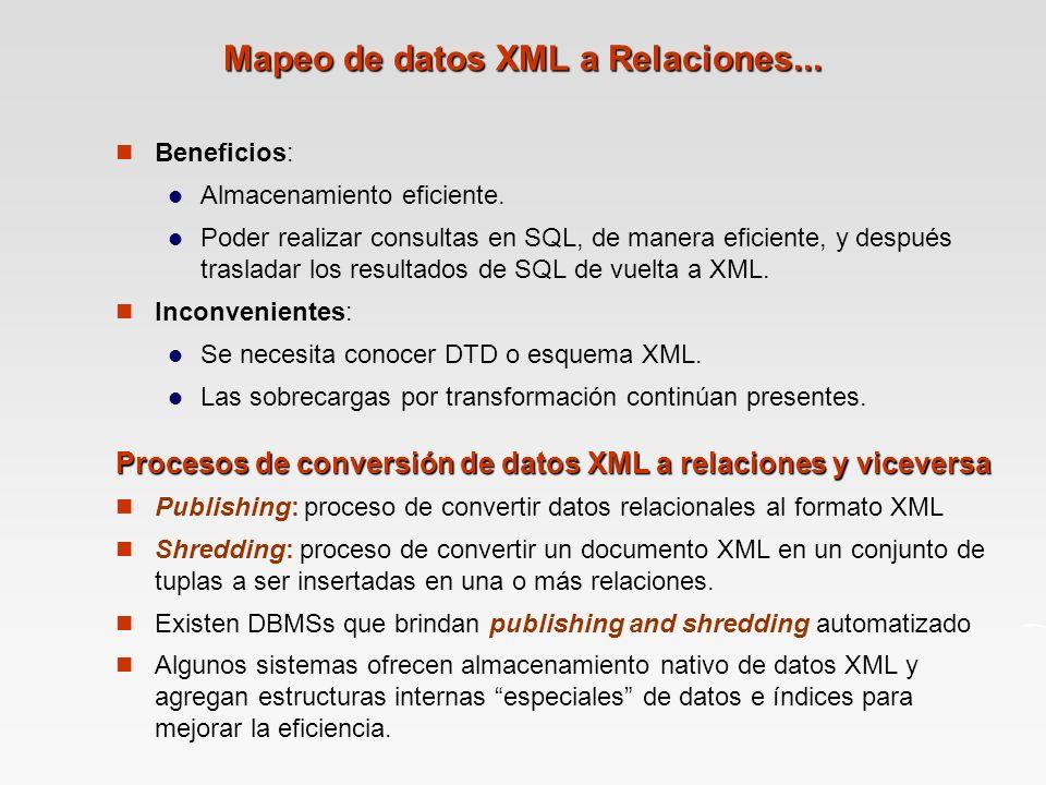 Mapeo de datos XML a Relaciones...