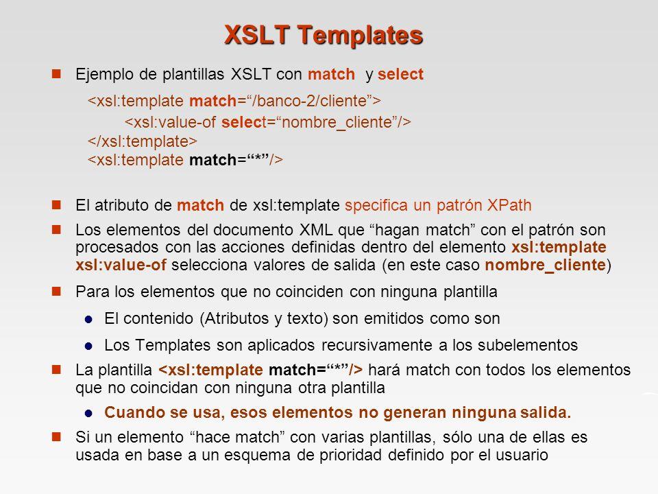 XSLT Templates <xsl:value-of select= nombre_cliente />