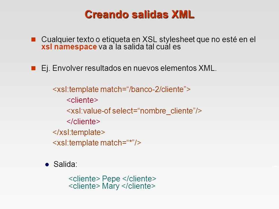 Creando salidas XML Cualquier texto o etiqueta en XSL stylesheet que no esté en el xsl namespace va a la salida tal cual es.