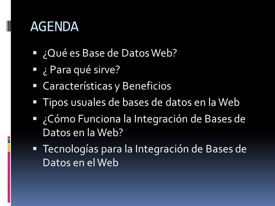 AGENDA ¿Qué es Base de Datos Web ¿ Para qué sirve