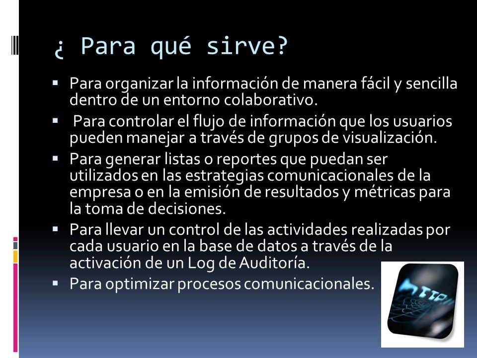 ¿ Para qué sirve Para organizar la información de manera fácil y sencilla dentro de un entorno colaborativo.