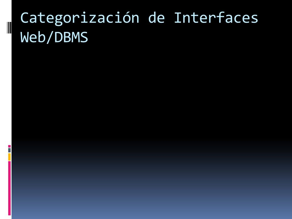 Categorización de Interfaces Web/DBMS