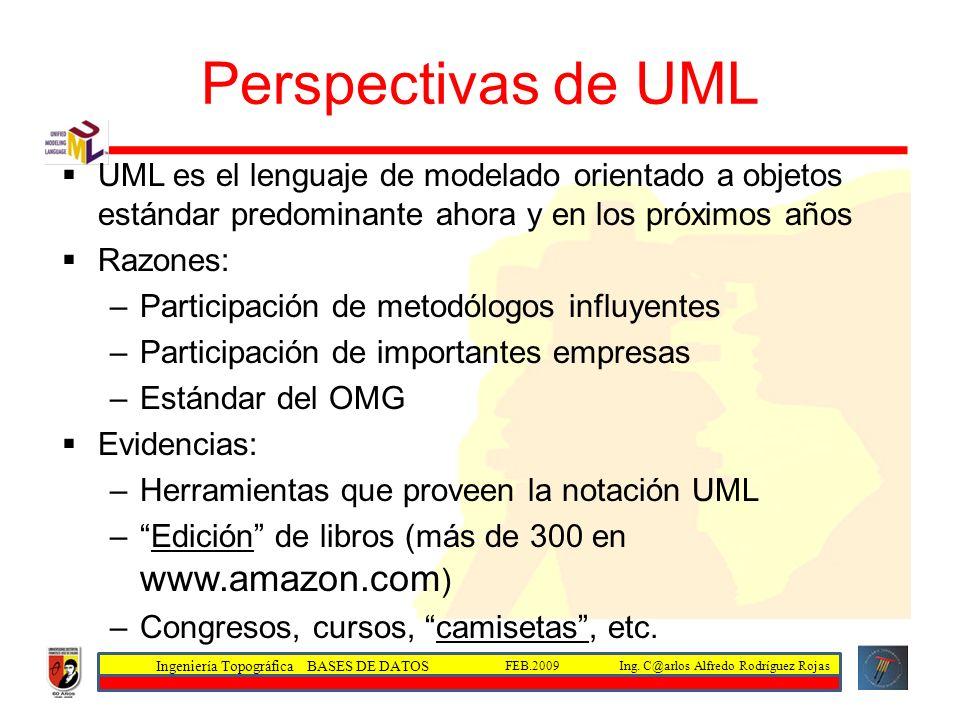 Perspectivas de UMLUML es el lenguaje de modelado orientado a objetos estándar predominante ahora y en los próximos años.