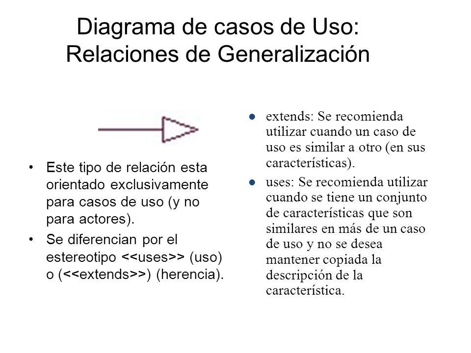 Diagrama de casos de Uso: Relaciones de Generalización
