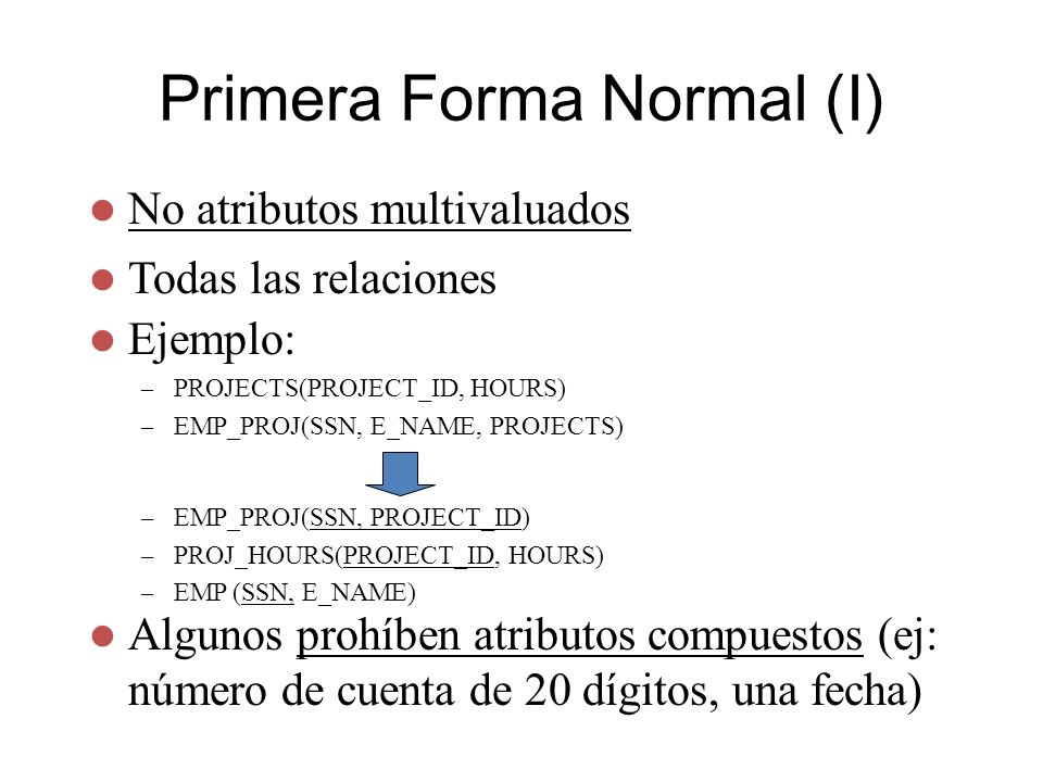 Primera Forma Normal (I)