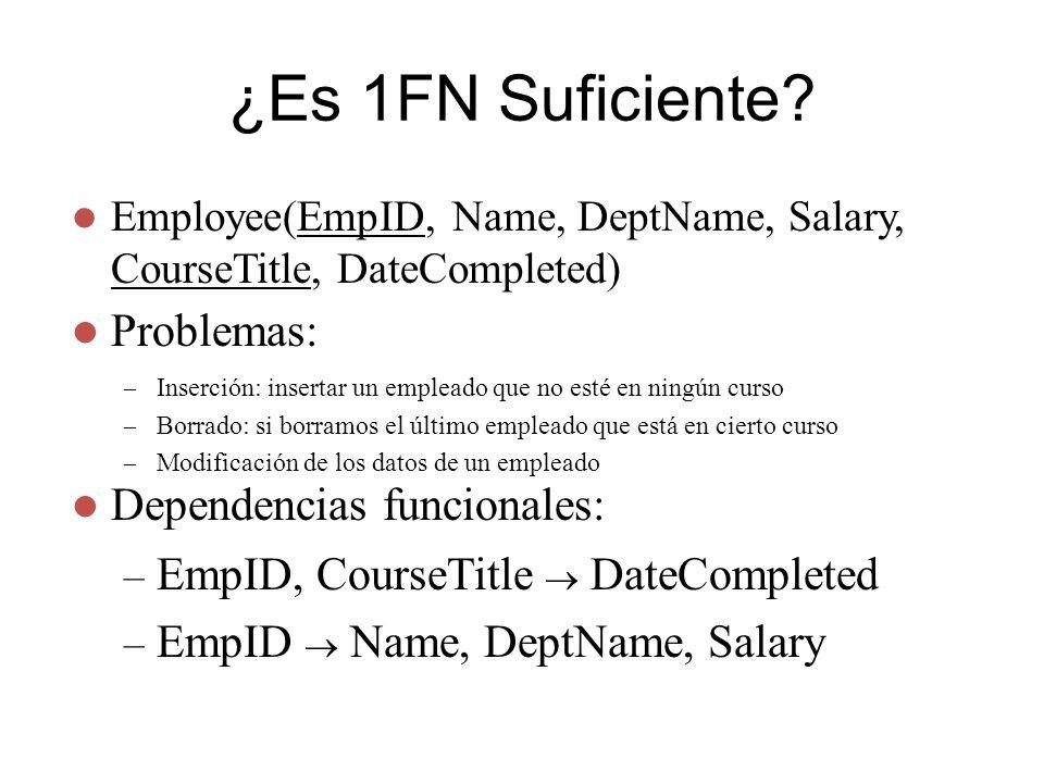 ¿Es 1FN Suficiente Problemas: Dependencias funcionales: