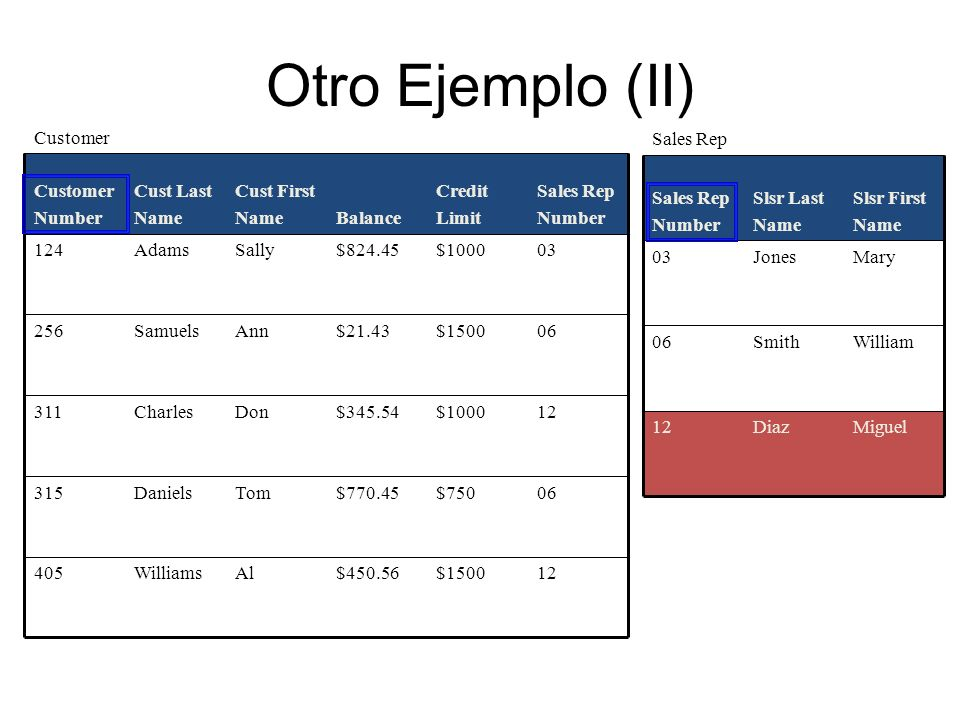 Otro Ejemplo (II) 12 $1500 $450.56 Al Williams 405 06 $750 $770.45 Tom