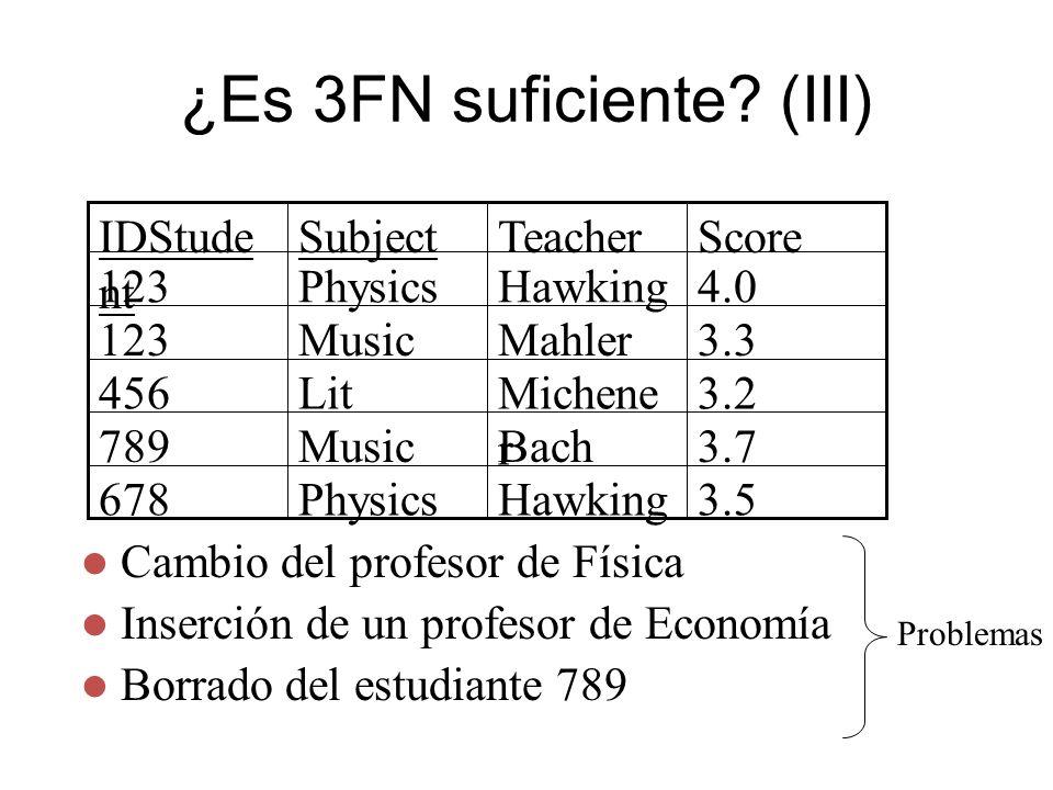 ¿Es 3FN suficiente (III)