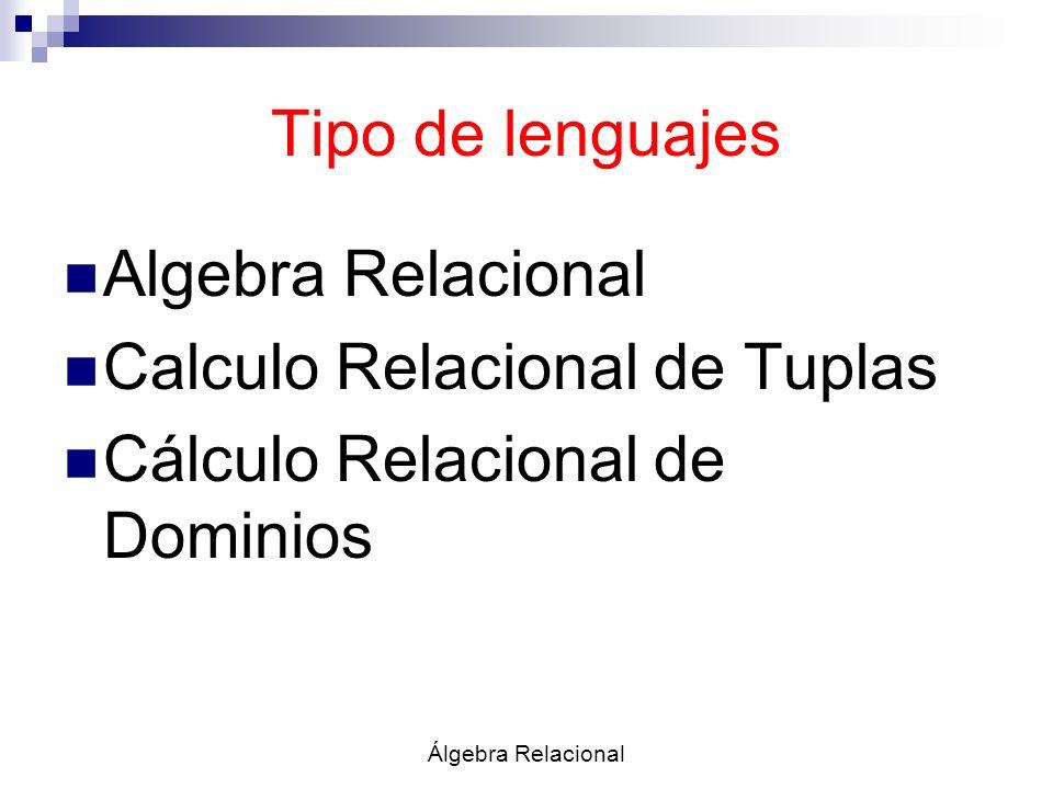 Calculo Relacional de Tuplas Cálculo Relacional de Dominios