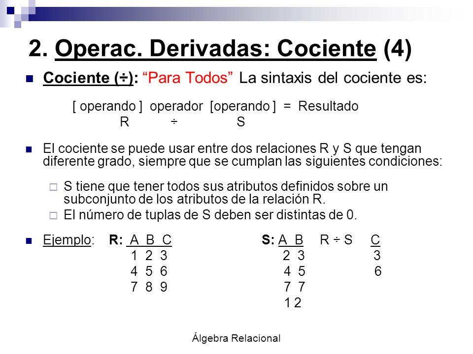 2. Operac. Derivadas: Cociente (4)
